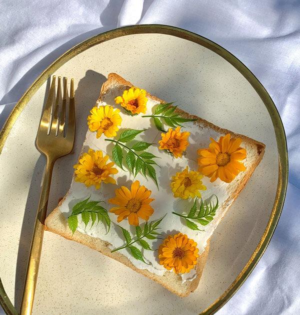Flowers on a toast