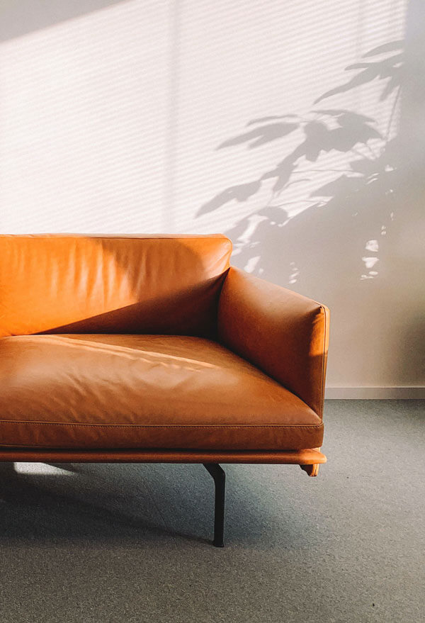 leather couch in warm light