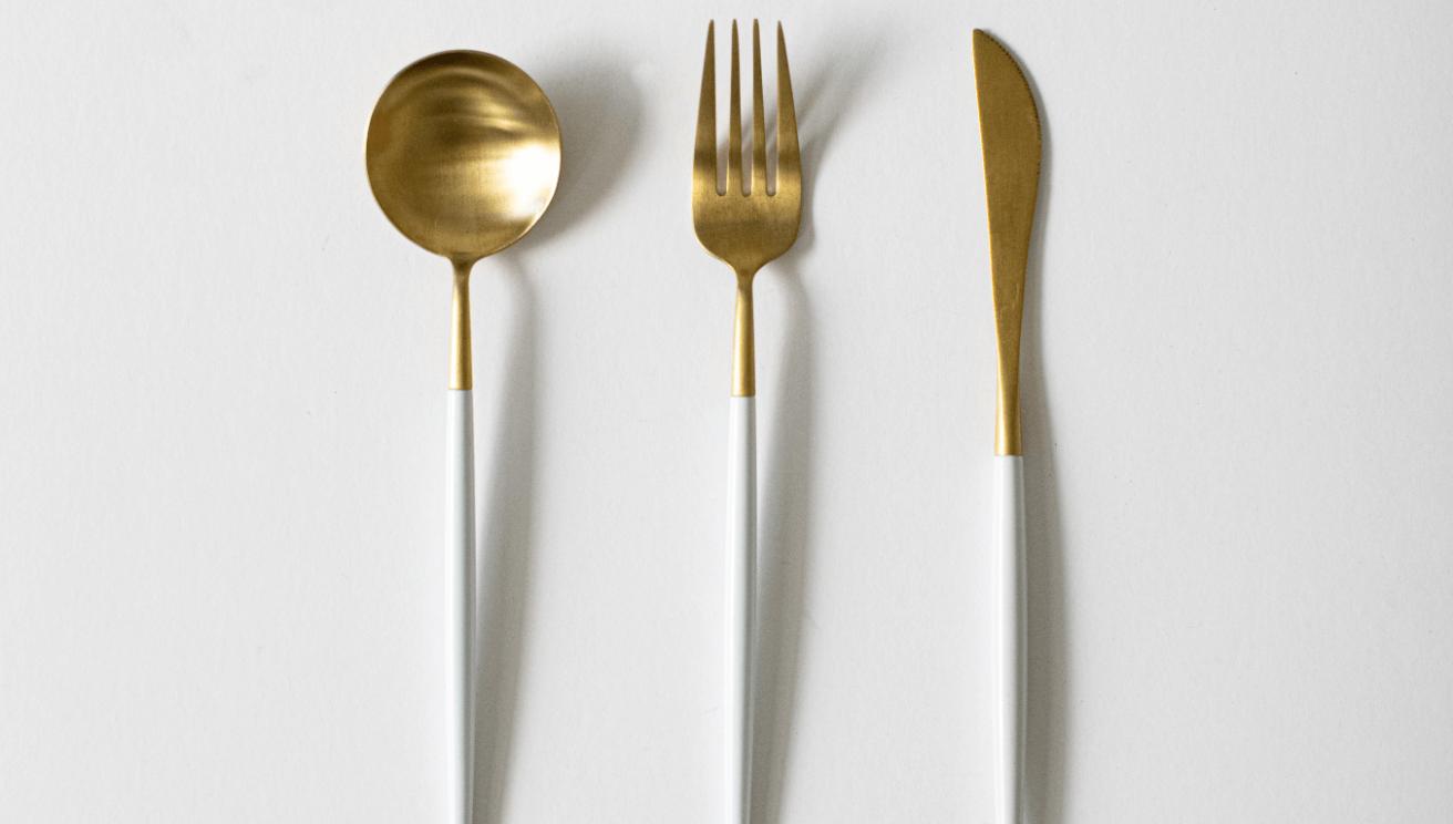 Beautiful gold and white silverware