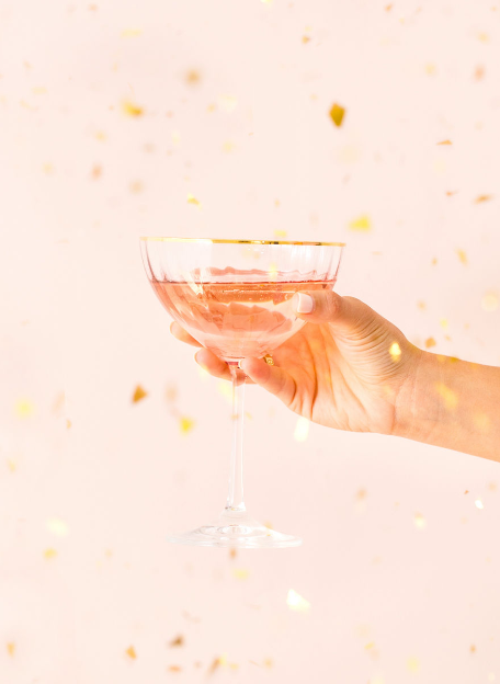 Hand holding a glass of champaign