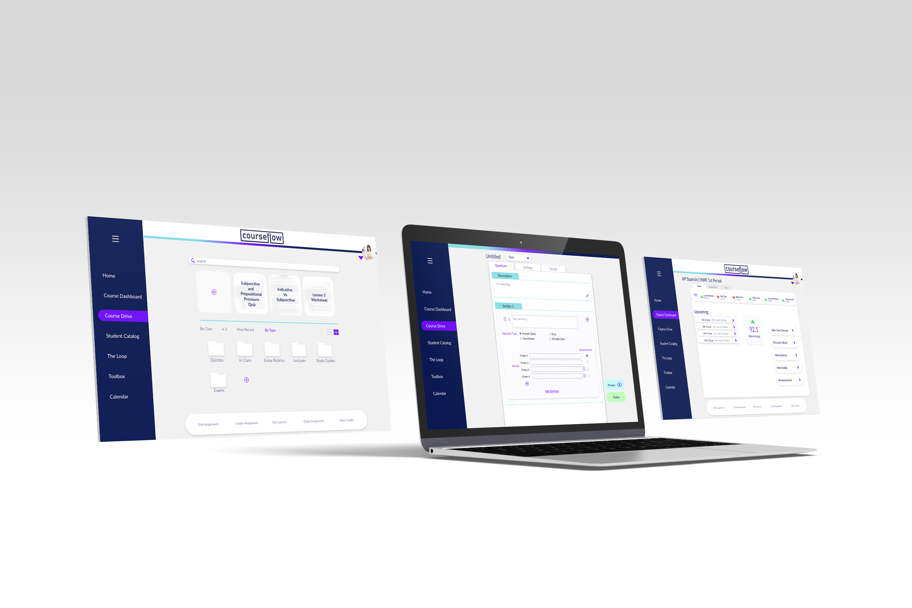 Graphic of a few screens from Courseflow