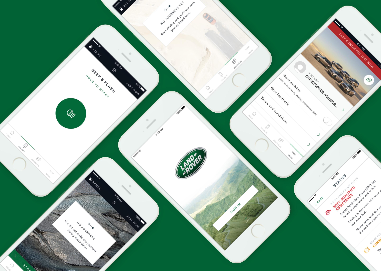 Six screenshots of the Land Rover iOS app