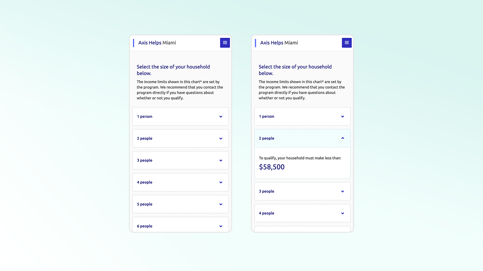 Area Median Income (AMI) tool — user can pick the number of people in their household, and the corresponding income limit shows in a dropdown