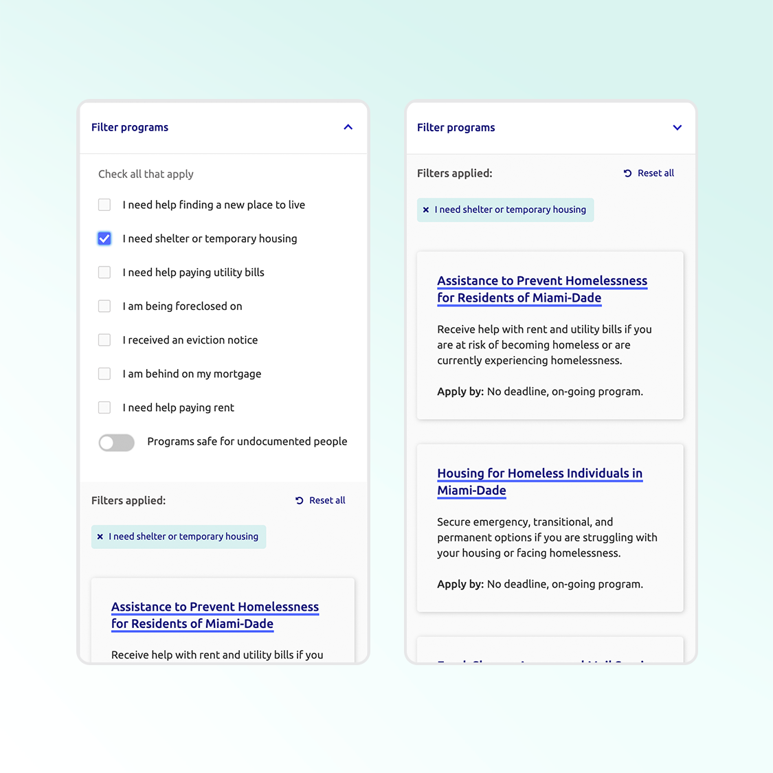 Screens from the Rent & Housing program filters: user can choose specific situational or demographic needs from the filter dropdown, and the tool shows only programs that correspond to that need.