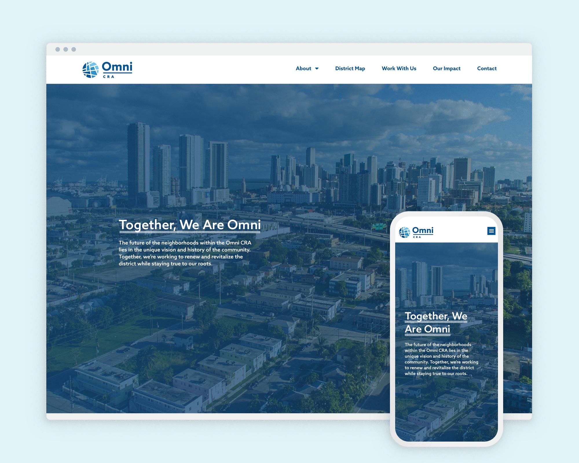 Omni CRA desktop and mobile website