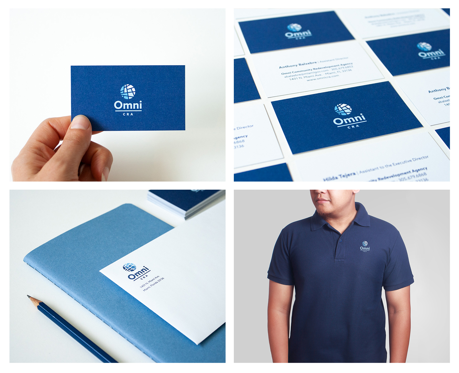 Omni CRA envelope and business card with stationery items, and polo shirt design