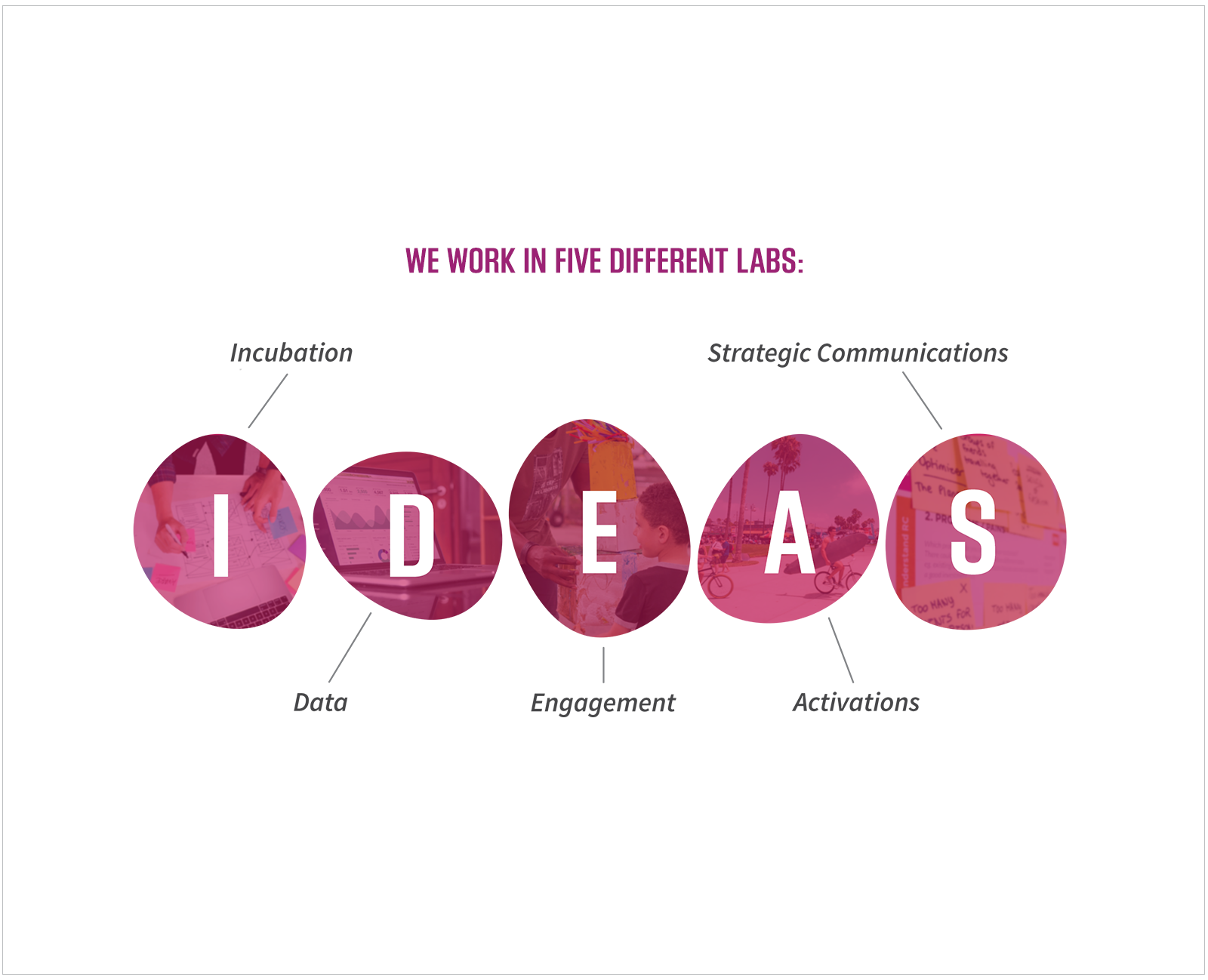 Infographic illustrating the organization's 5 areas of work