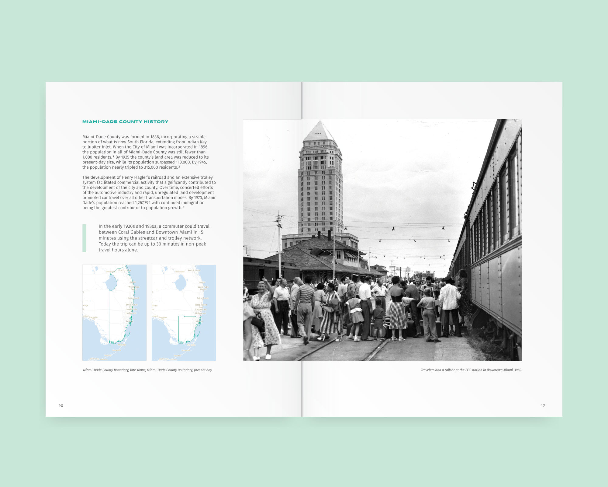 Handbook design—book layout showing historic images of Miami