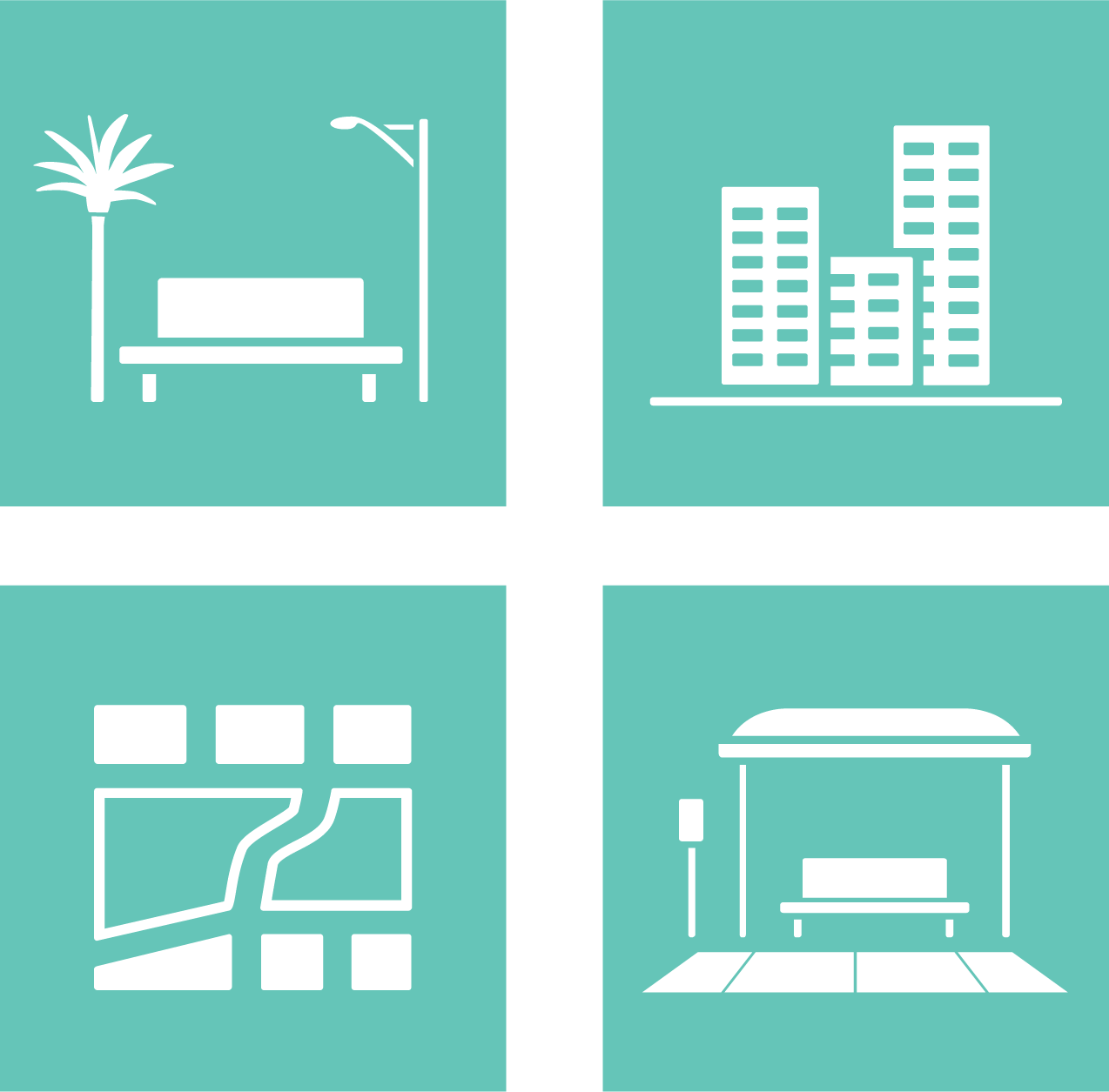 Active Design Icons for Parks & Open Spaces, Buildings, Development Patterns, and Mobility