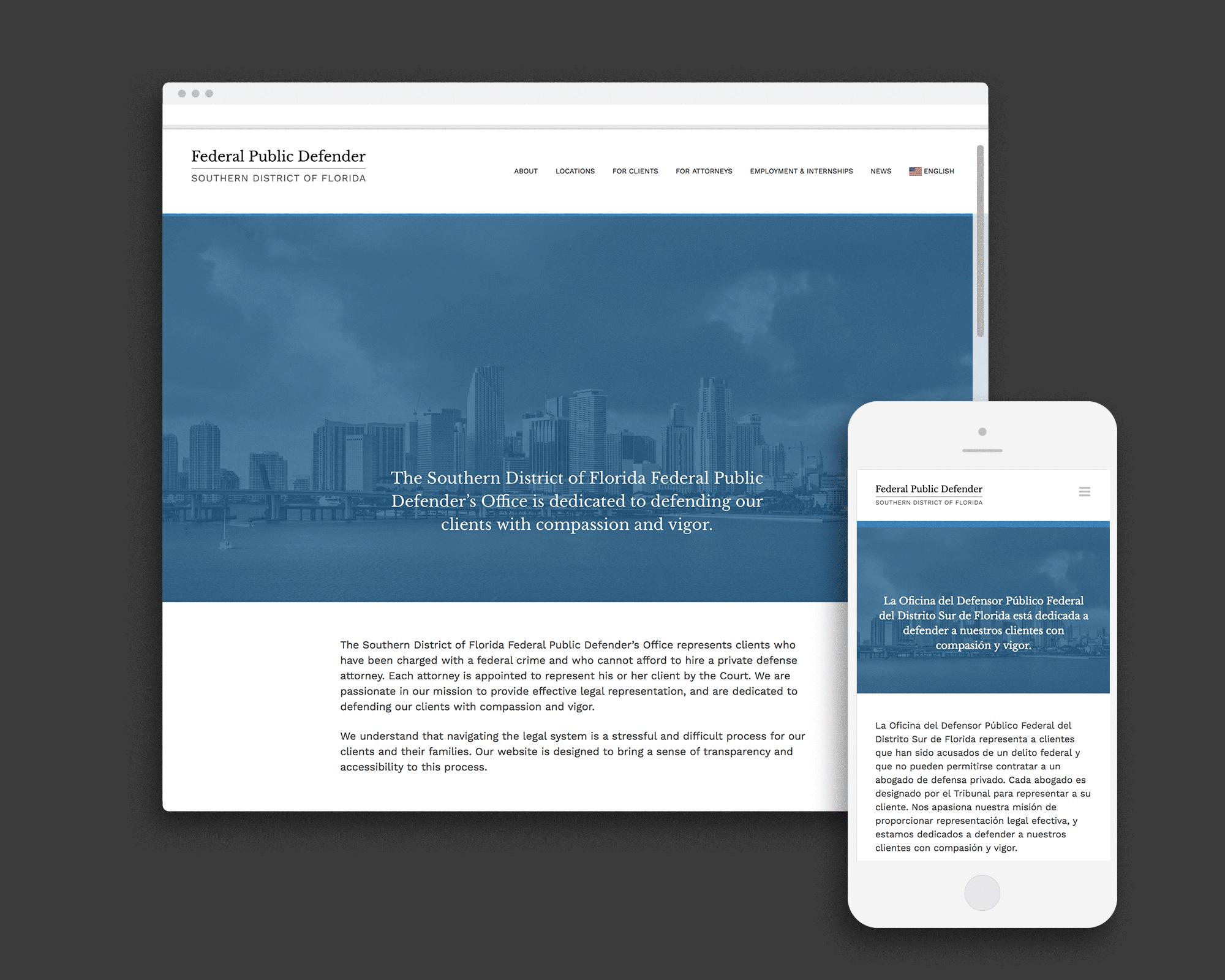 Federal Public Defender website on desktop and mobile
