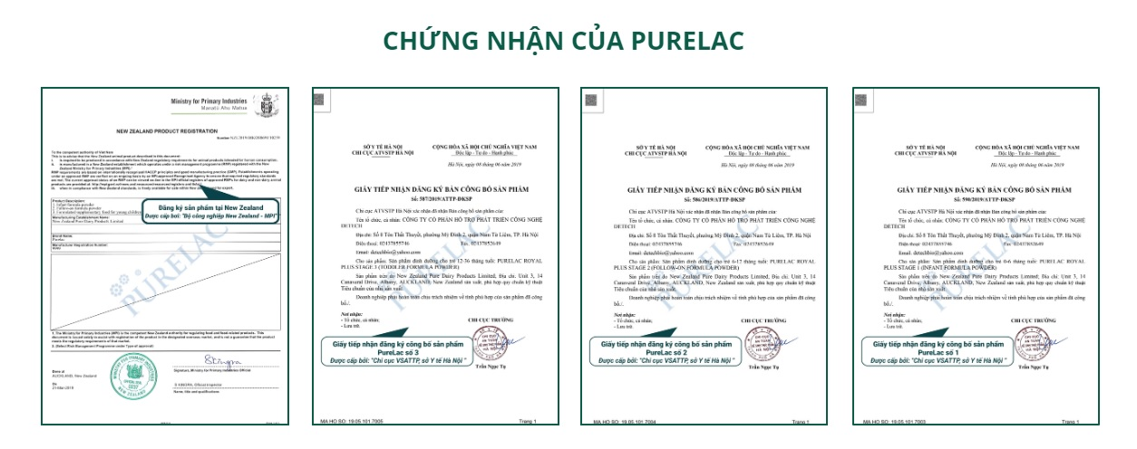 giấy chứng nhận Sữa PURELAC