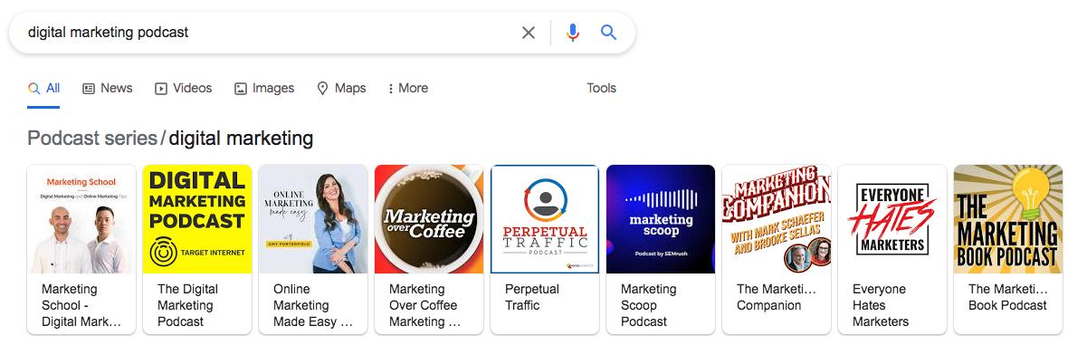 google results for digital marketing podcast