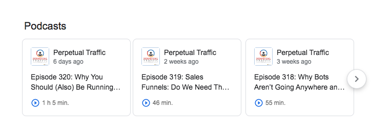 Perpetual Traffic on Google results