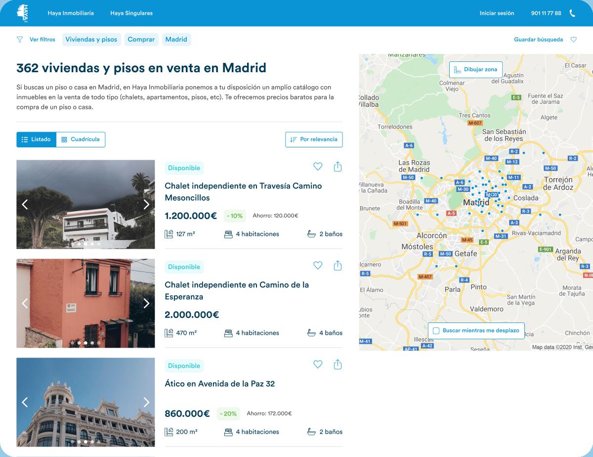 Haya Real Estate search screenshot