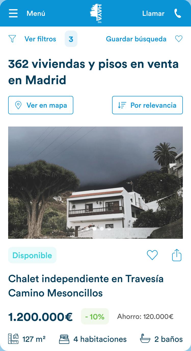 Haya Real Estate Mobile user flow screenshots