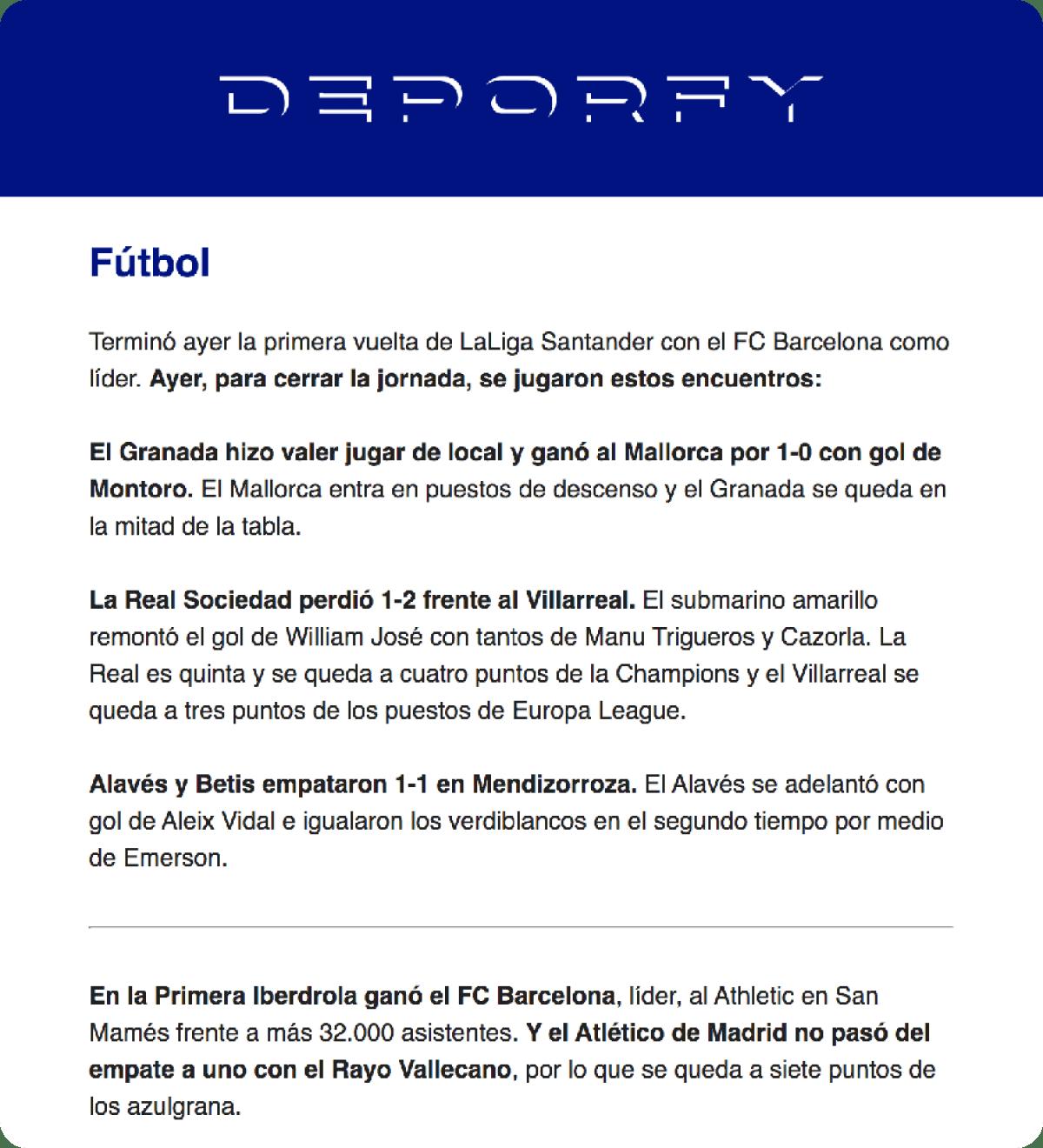 Deporfy newsletter screenshots