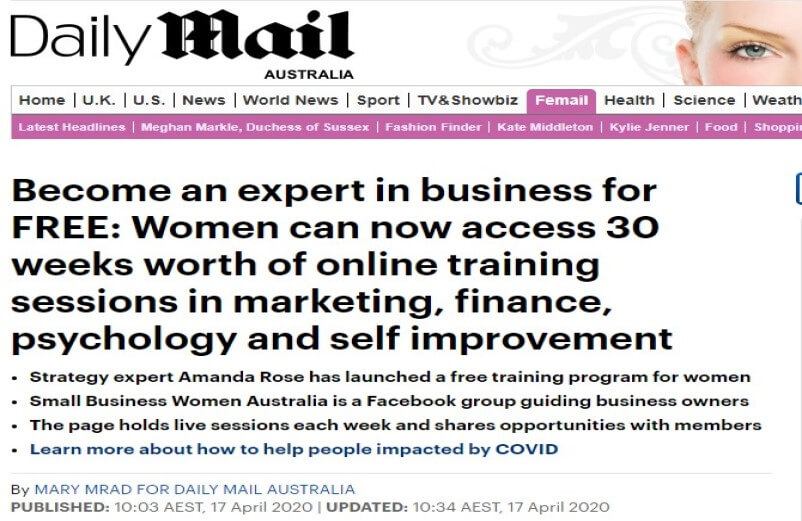 Daily Mail covers my Webinar on May 6th with friend Boss Lady Amanda Rose