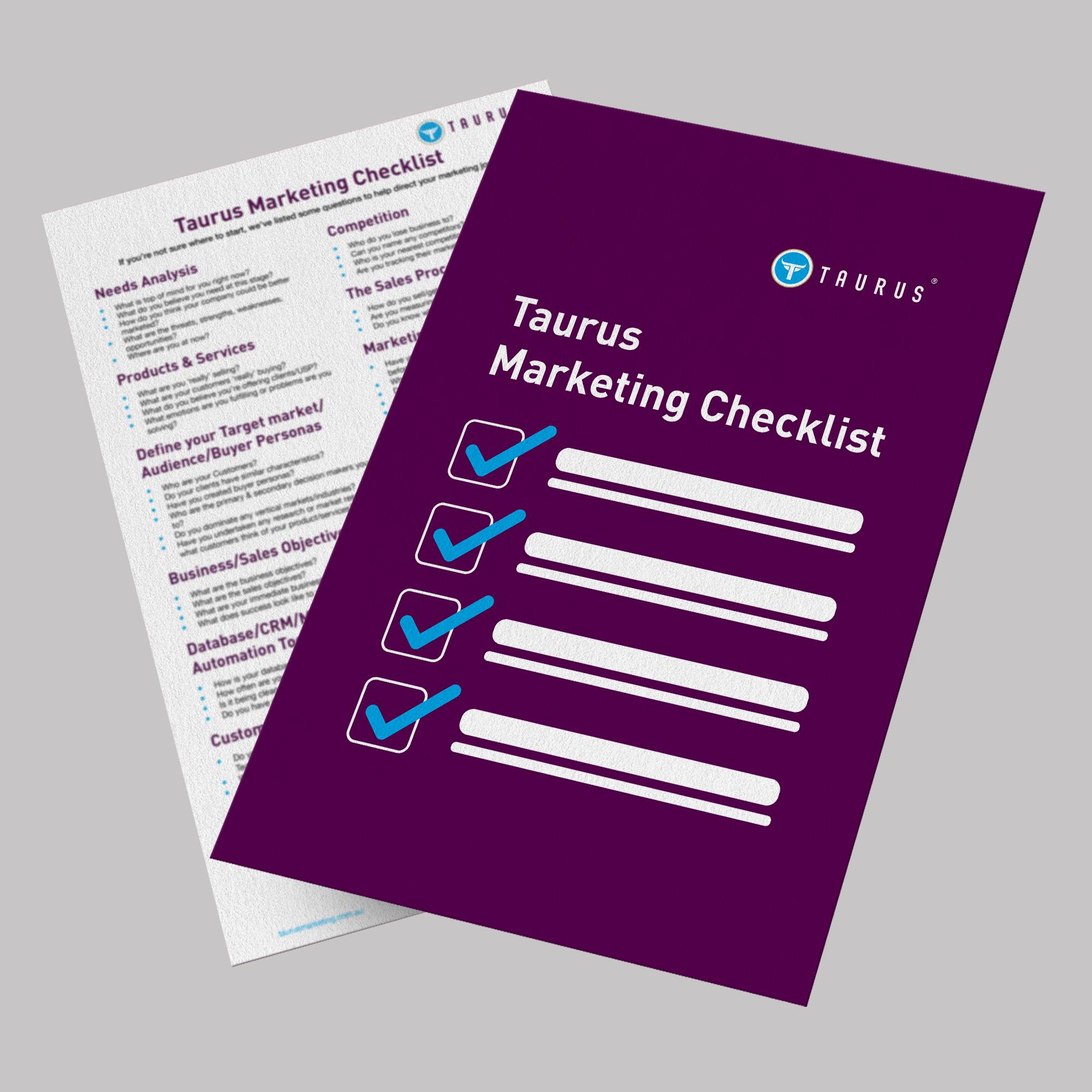 Sharon WIlliams Taurus Marketing, Marketing Checklist