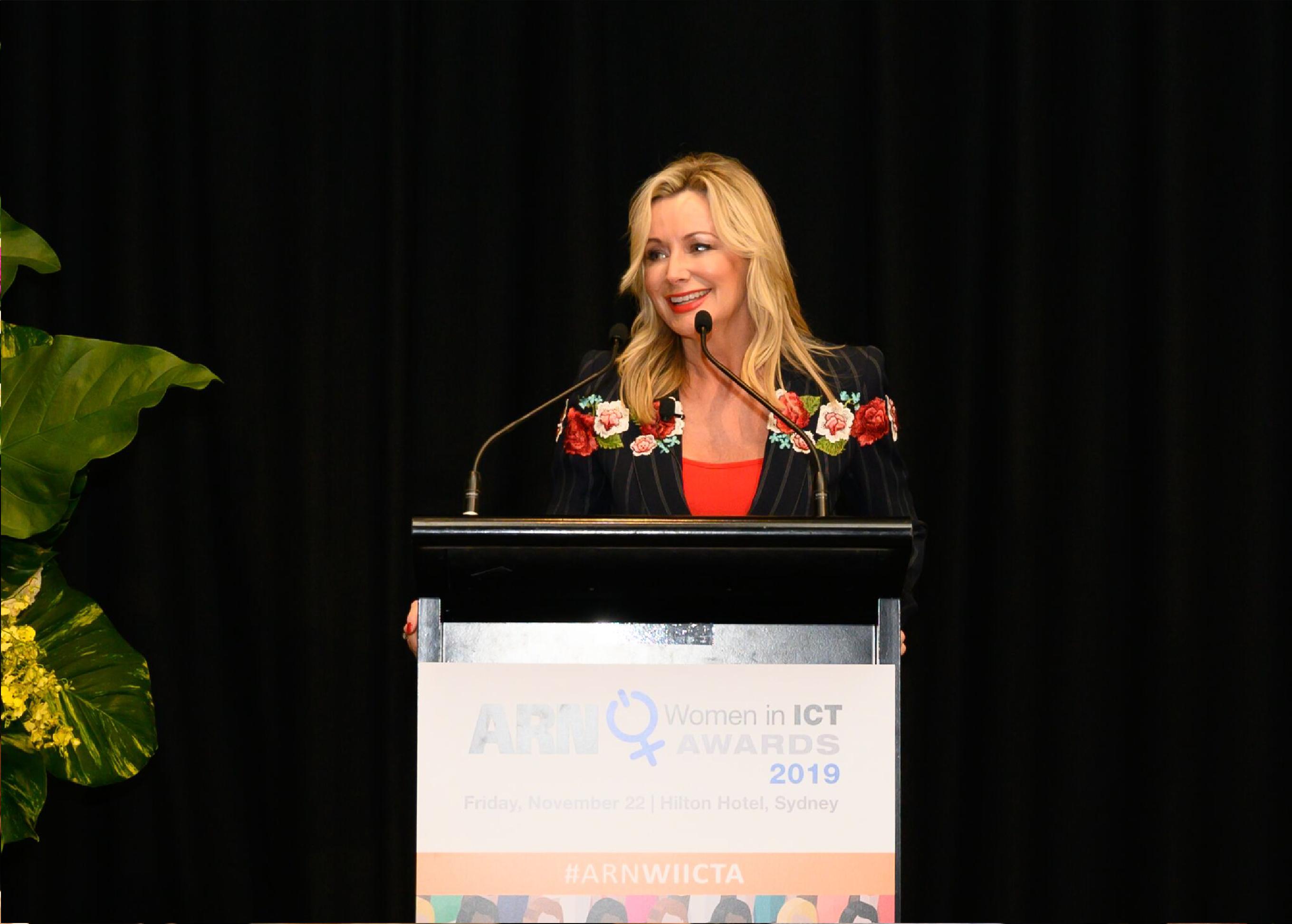 Sharon Williams speaking at ARN women in ICT awards 2019