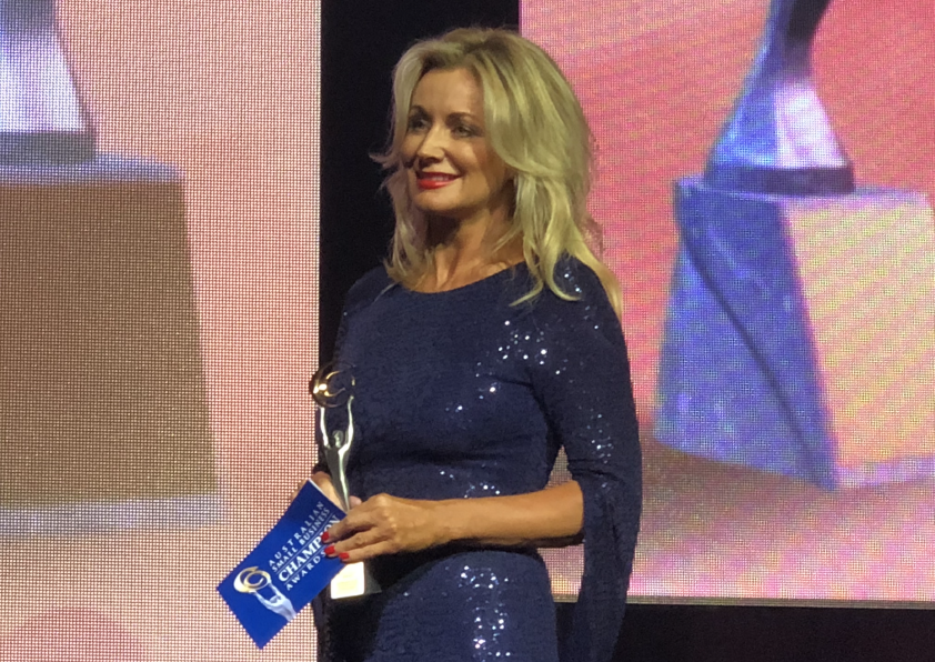 Sharon Williams accepting an award at Australian small business champion awards