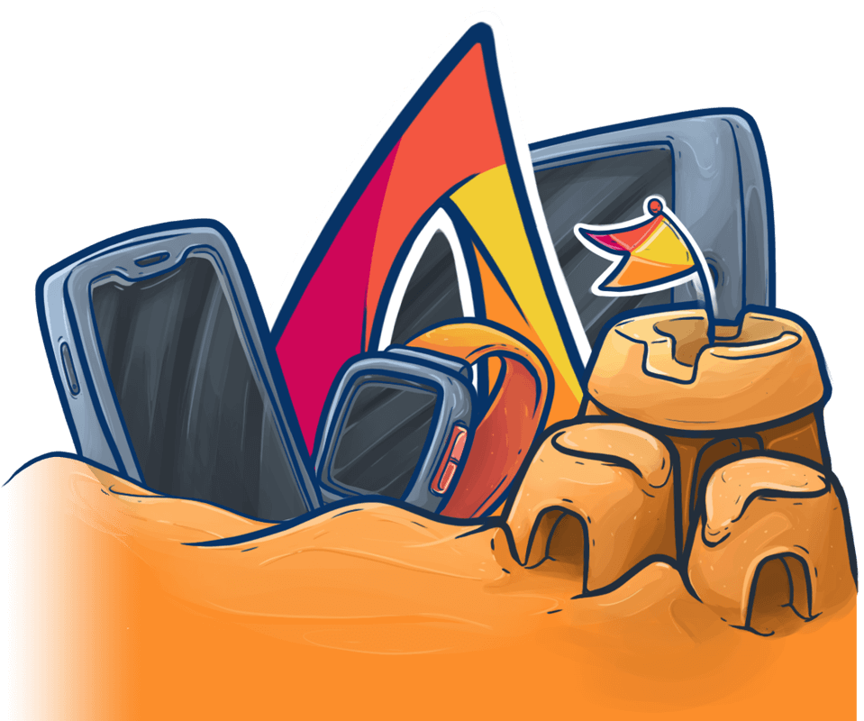 Nareia's logo surrounded by mobile devices in the sand.