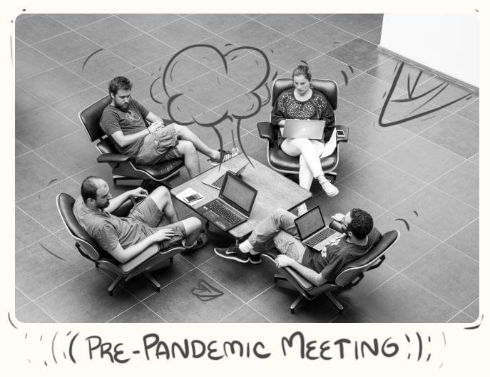 Pre-pandemic meetings in the hall room.