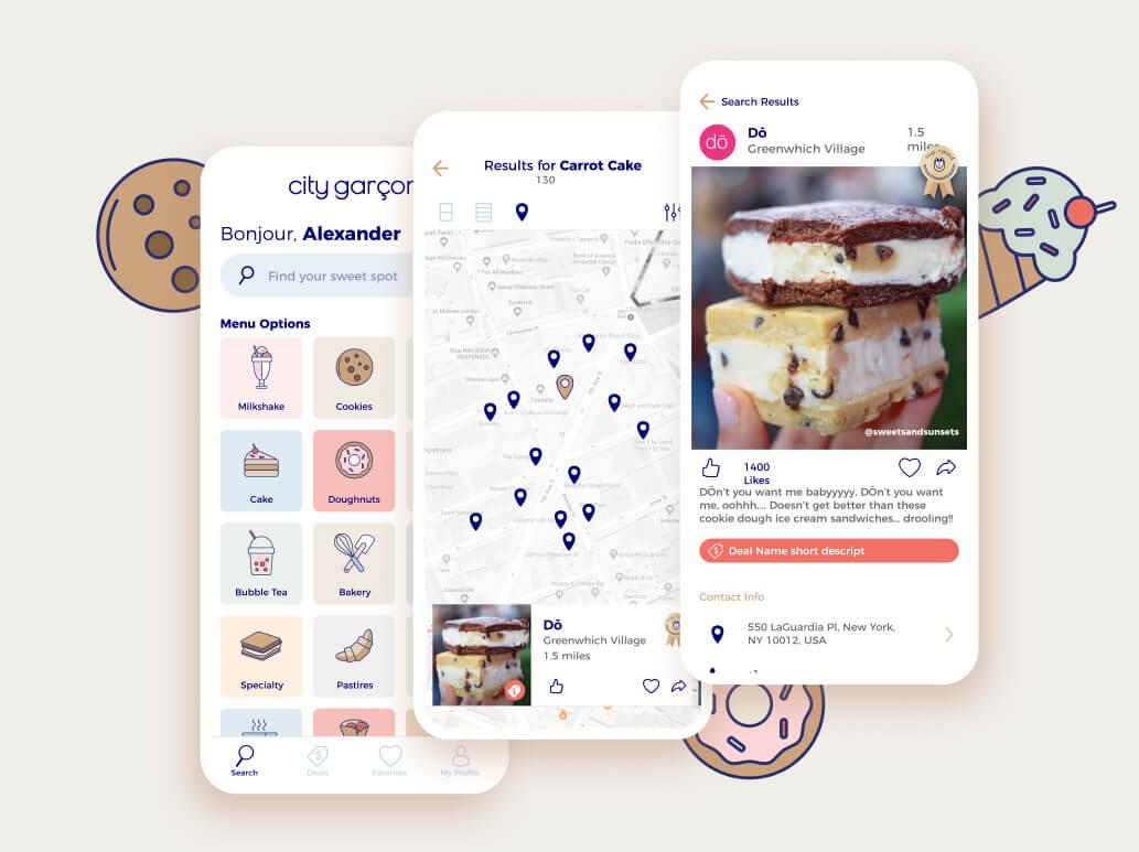 City Garçon app development designs.