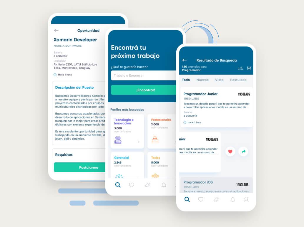 Trabajo app development designs.