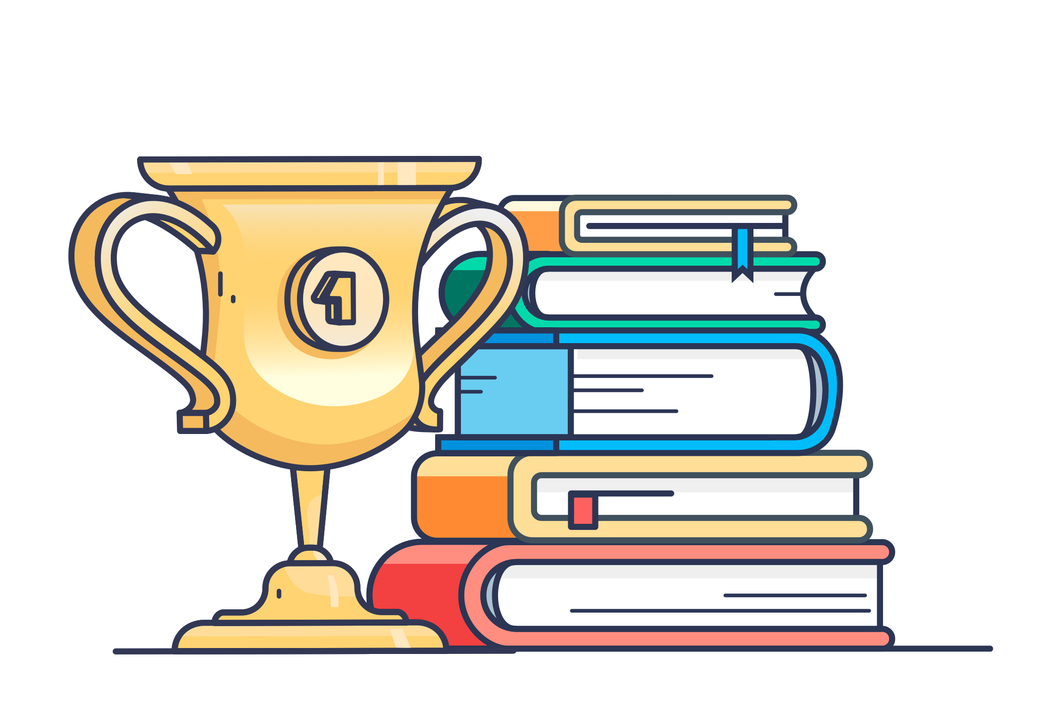 trophy and books