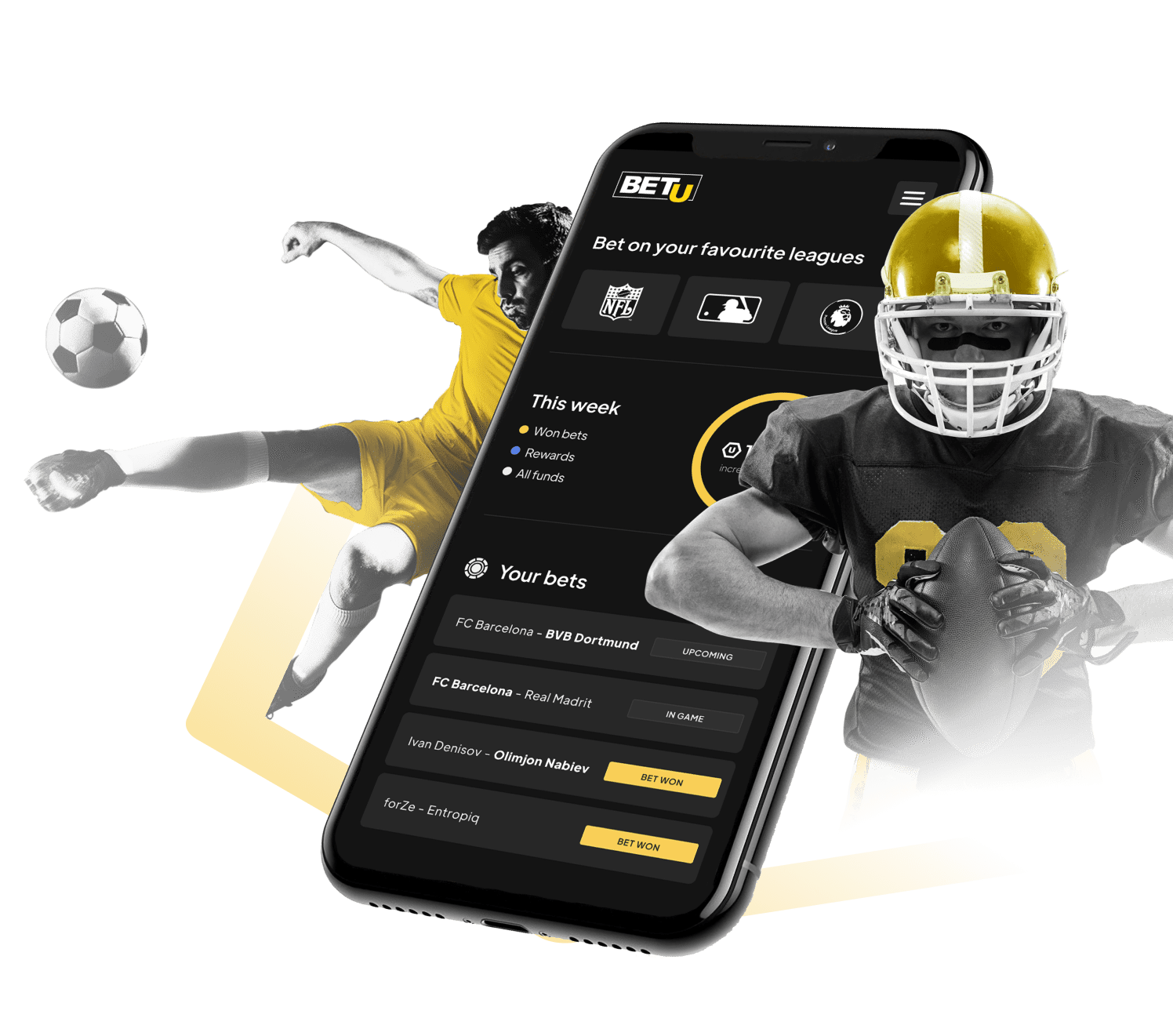 Soccer and football players with BETU sports betting platform