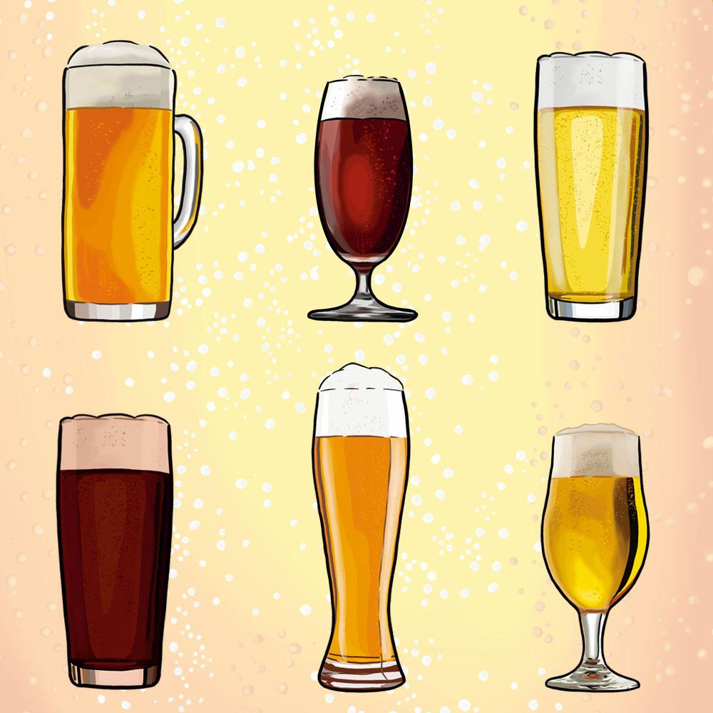 Illustration mit sechs unterschiedlichen Gläsern gefüllt mit unterschiedlichen Biersorten