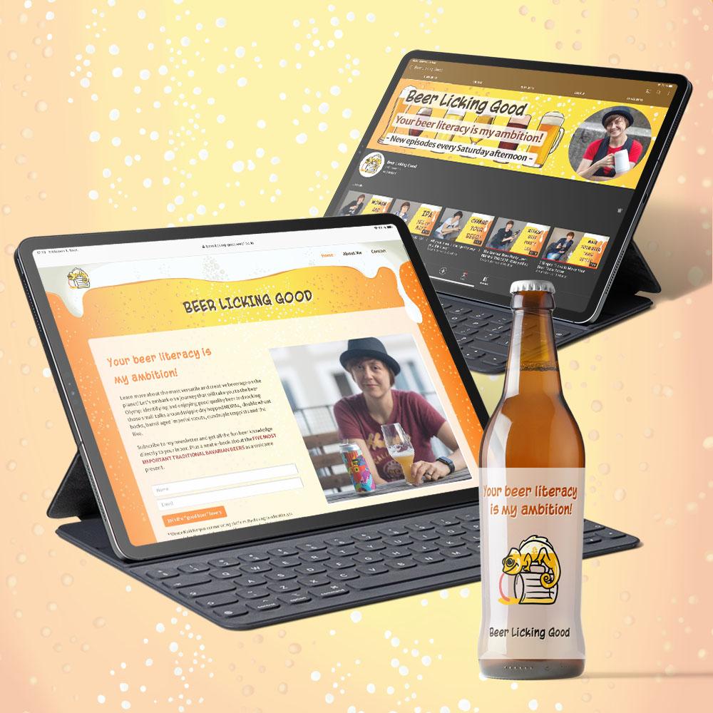 Zwei iPads mit der Webseite und dem YouTube Kanal von Beer Licking Good mit Bierflasche im Vordergrund