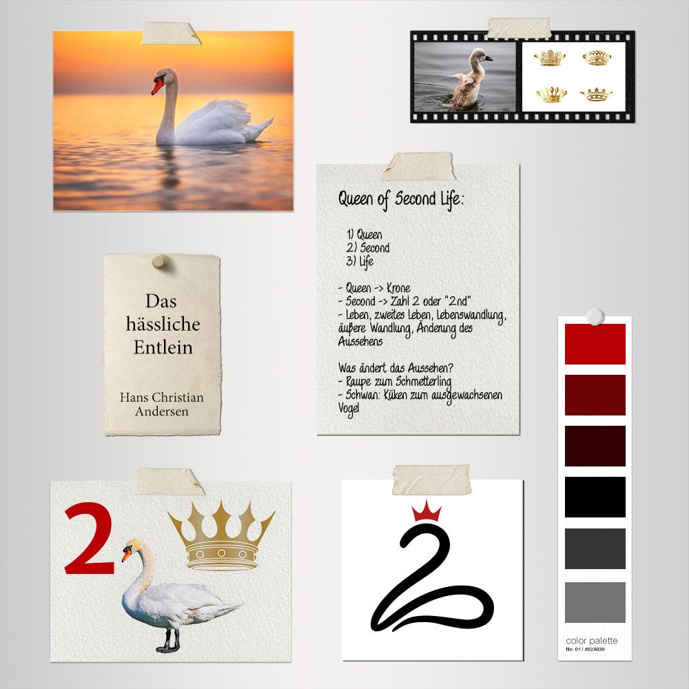 Brainstorming Board für Logoentwicklung mit unterschiedlichen Elementen: Fotos, Text, Farben