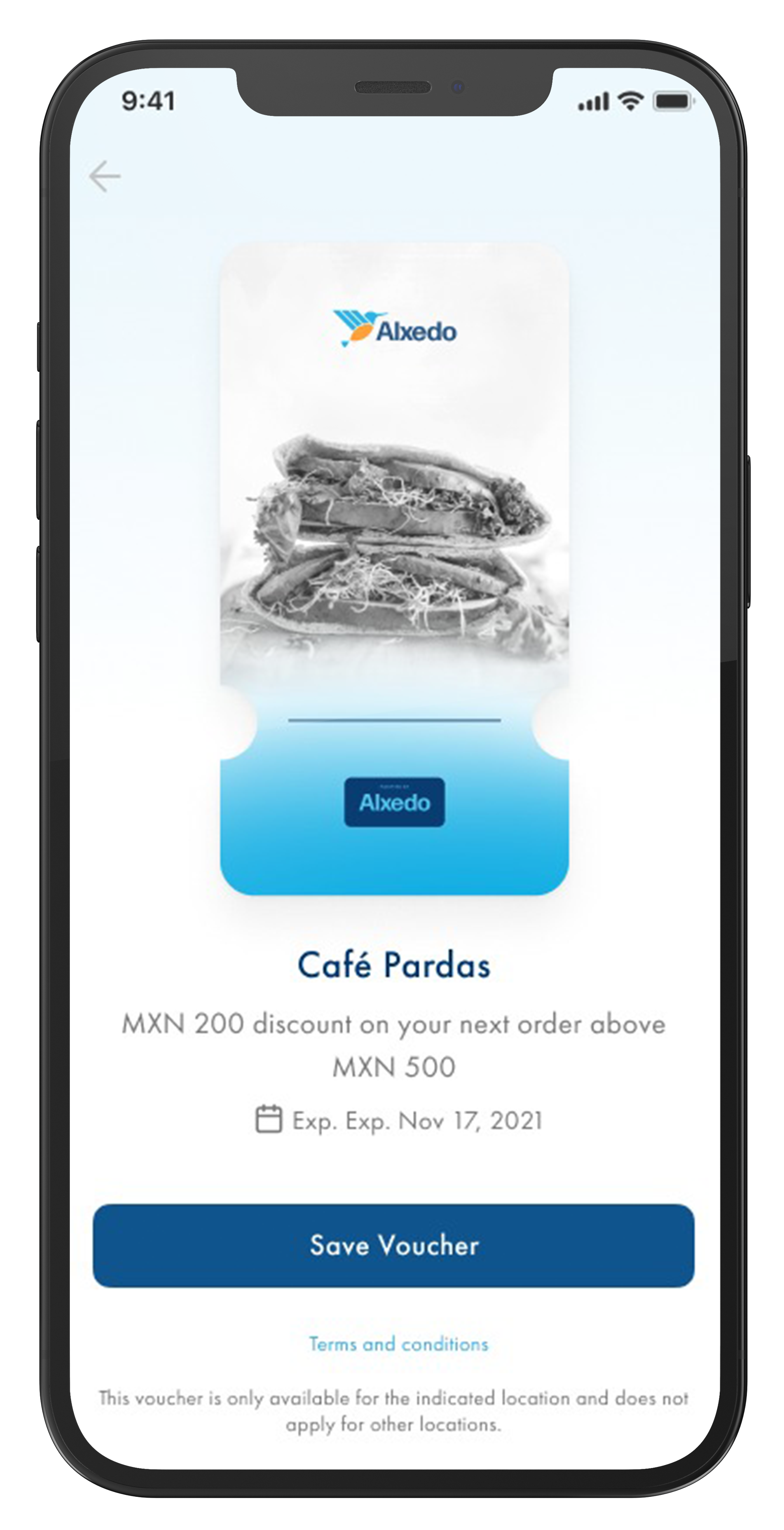 Phone with Alxedo App opened showing a restaurant voucher.