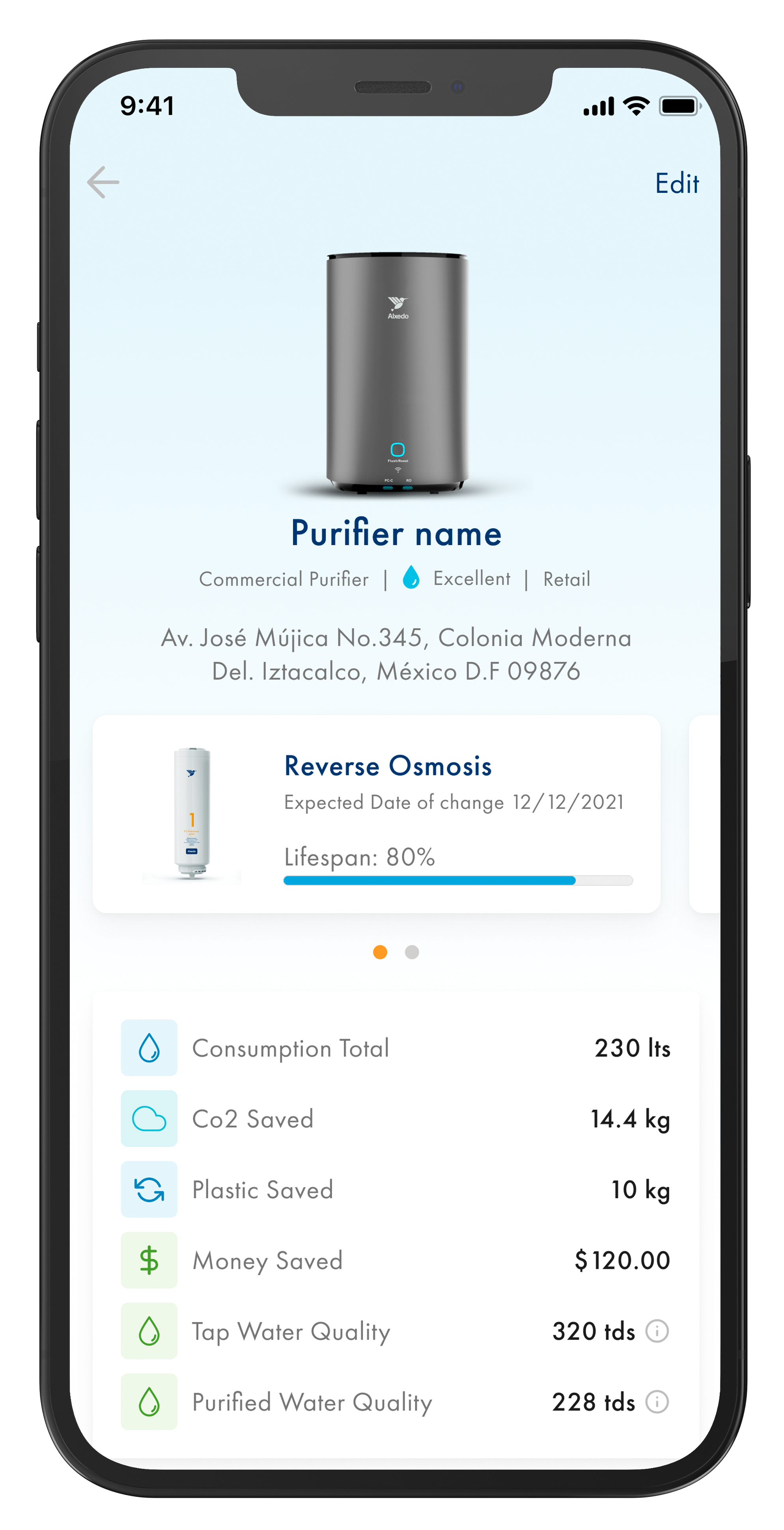 Phone with Alxedo App opened showing purificationv water statistics.