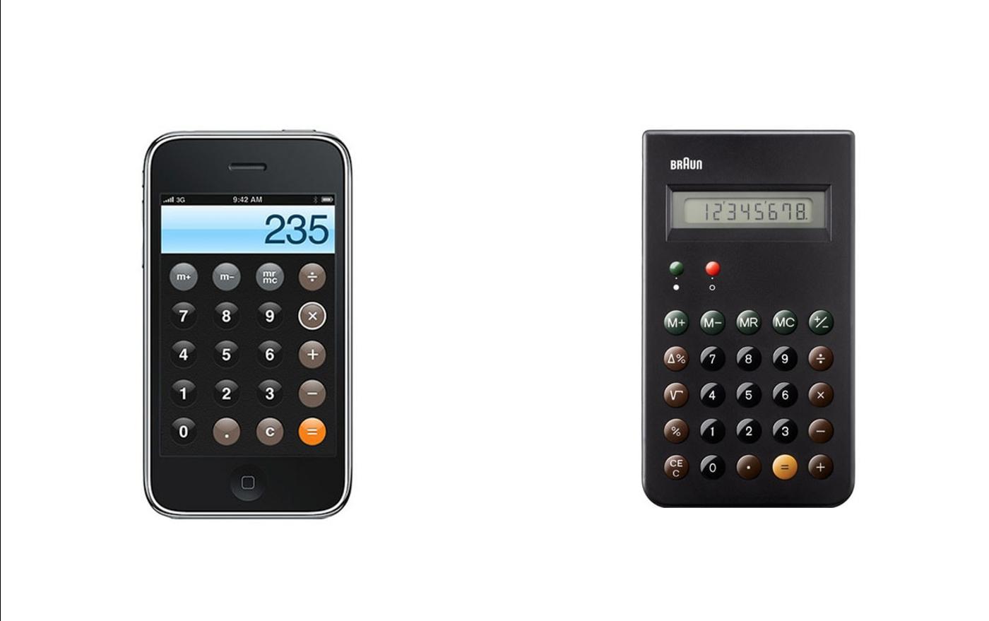 iPhone Calculator (2007) and Braun ET66 (1987)