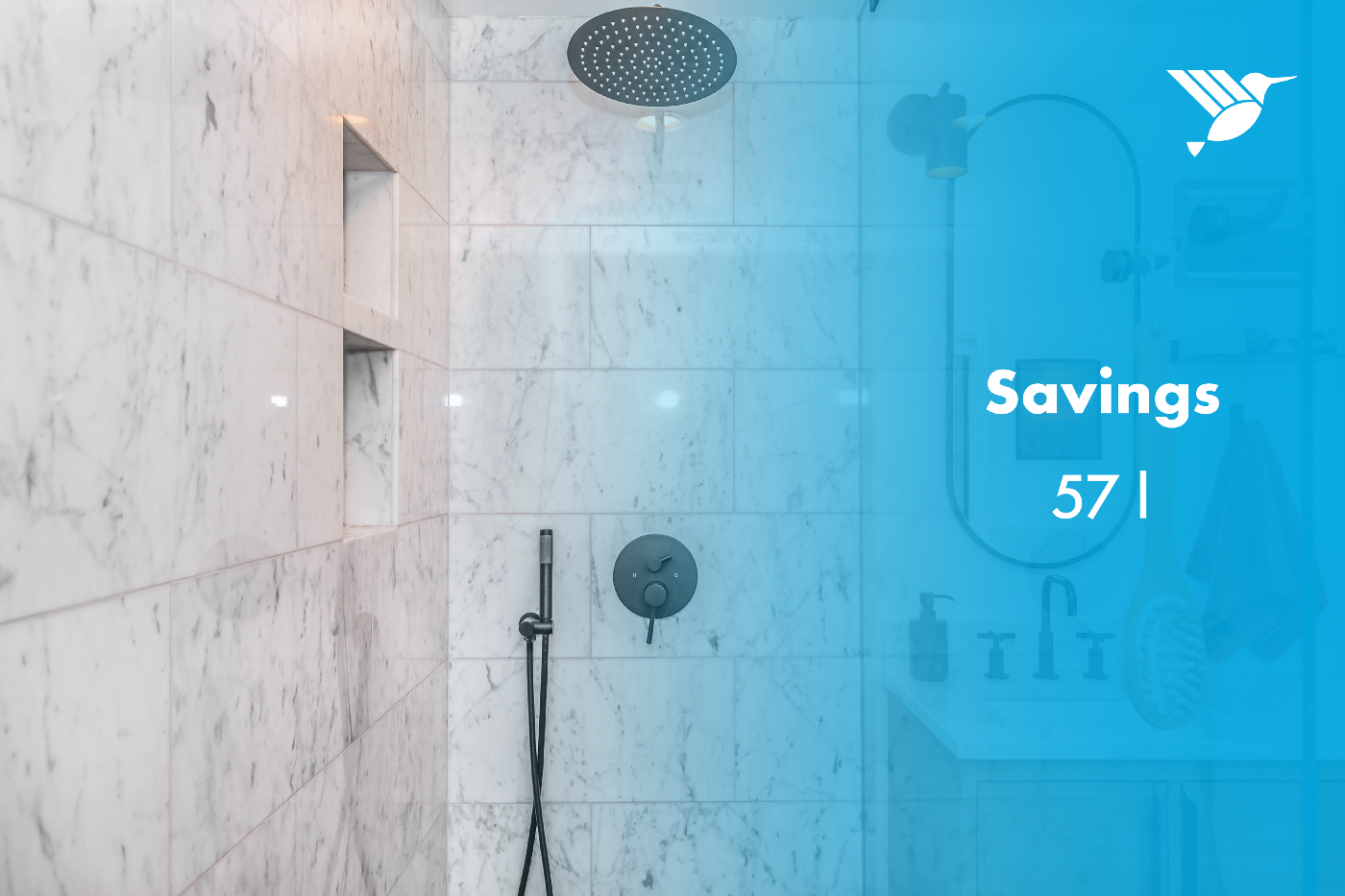 """A shower with a text next to it saying: """"Savings 57l"""""""
