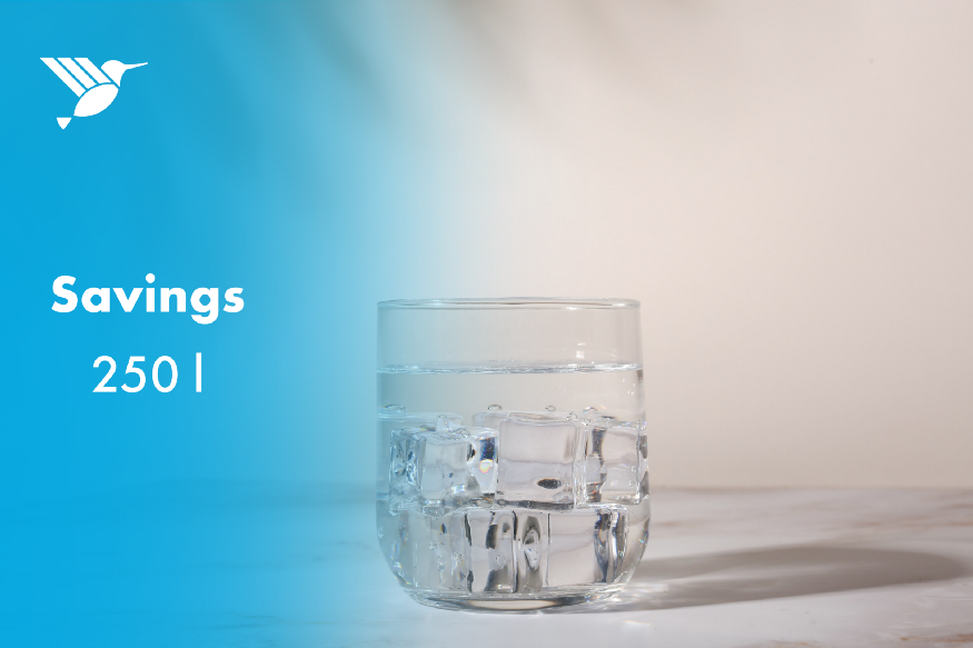 """A glass of water with a text next to it saying: """"Savings 250l""""l"""""""