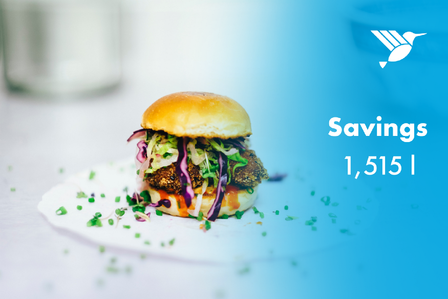 """A burger with a text next to it saying: """"Savings 1,515l"""""""