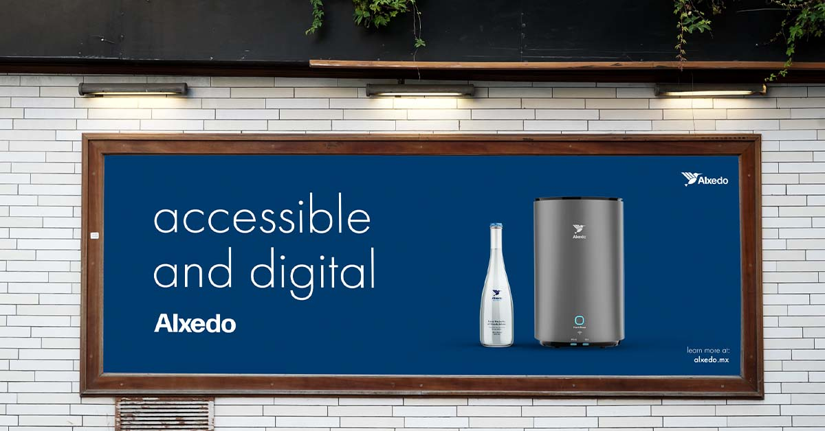 """Alxedo Poster advertisement with the alxedo Purifier and a text next to it saying: """"accessible and digital"""""""