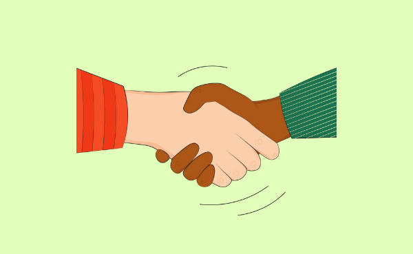 Illustration of two arm hands shaking hands in a greeting
