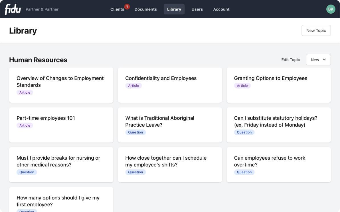 Screenshot of Fidu's knowledge base feature