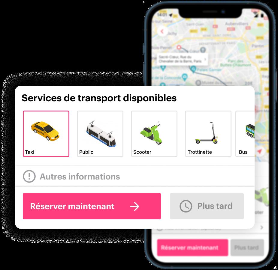 Réservation d'un service de transport