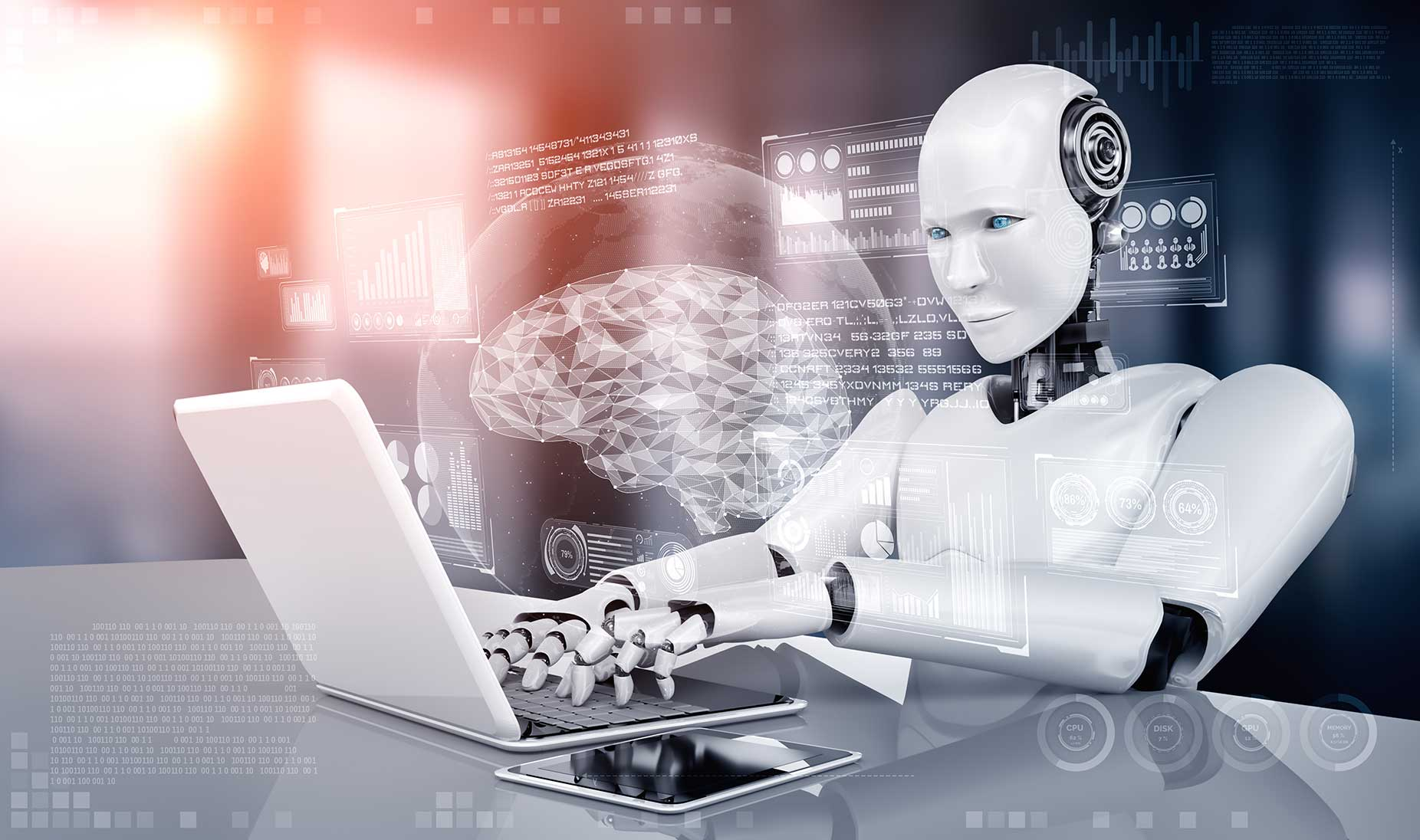 robot working on a computer