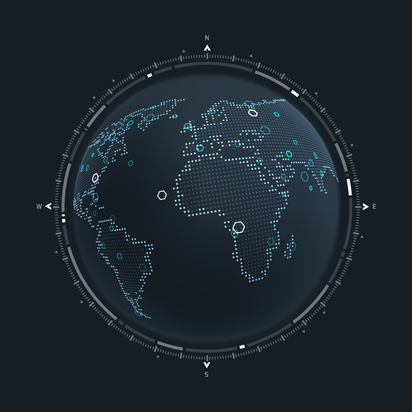 Digital globe with North, South, West, and East markers.