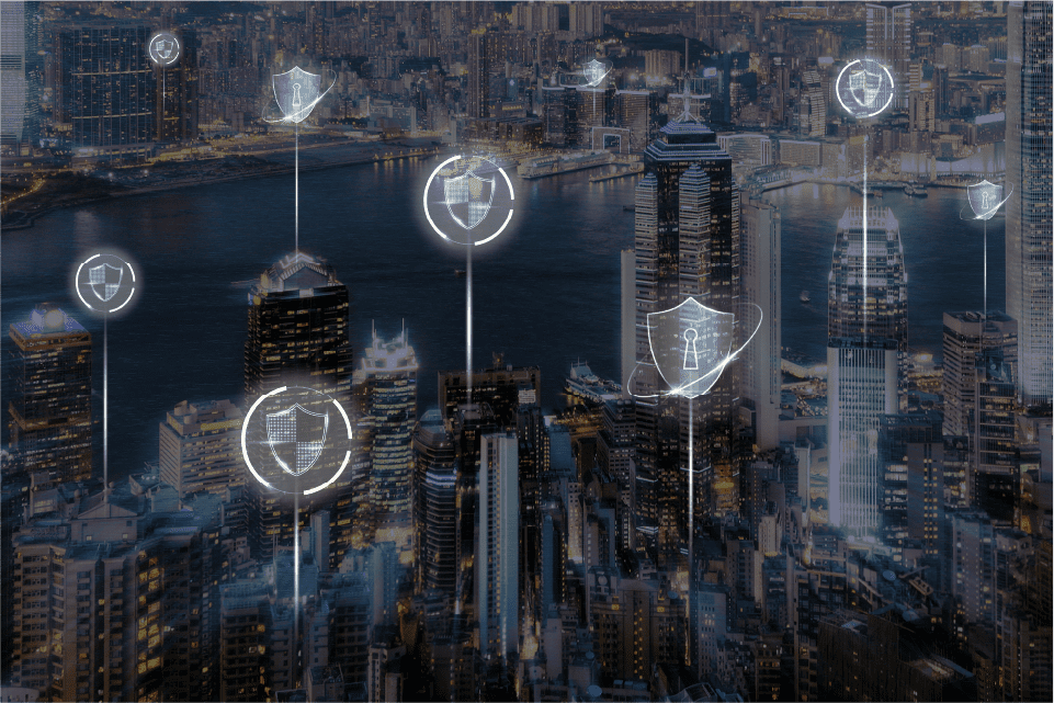 Digital secure city. Cyber locks and shields around the city.