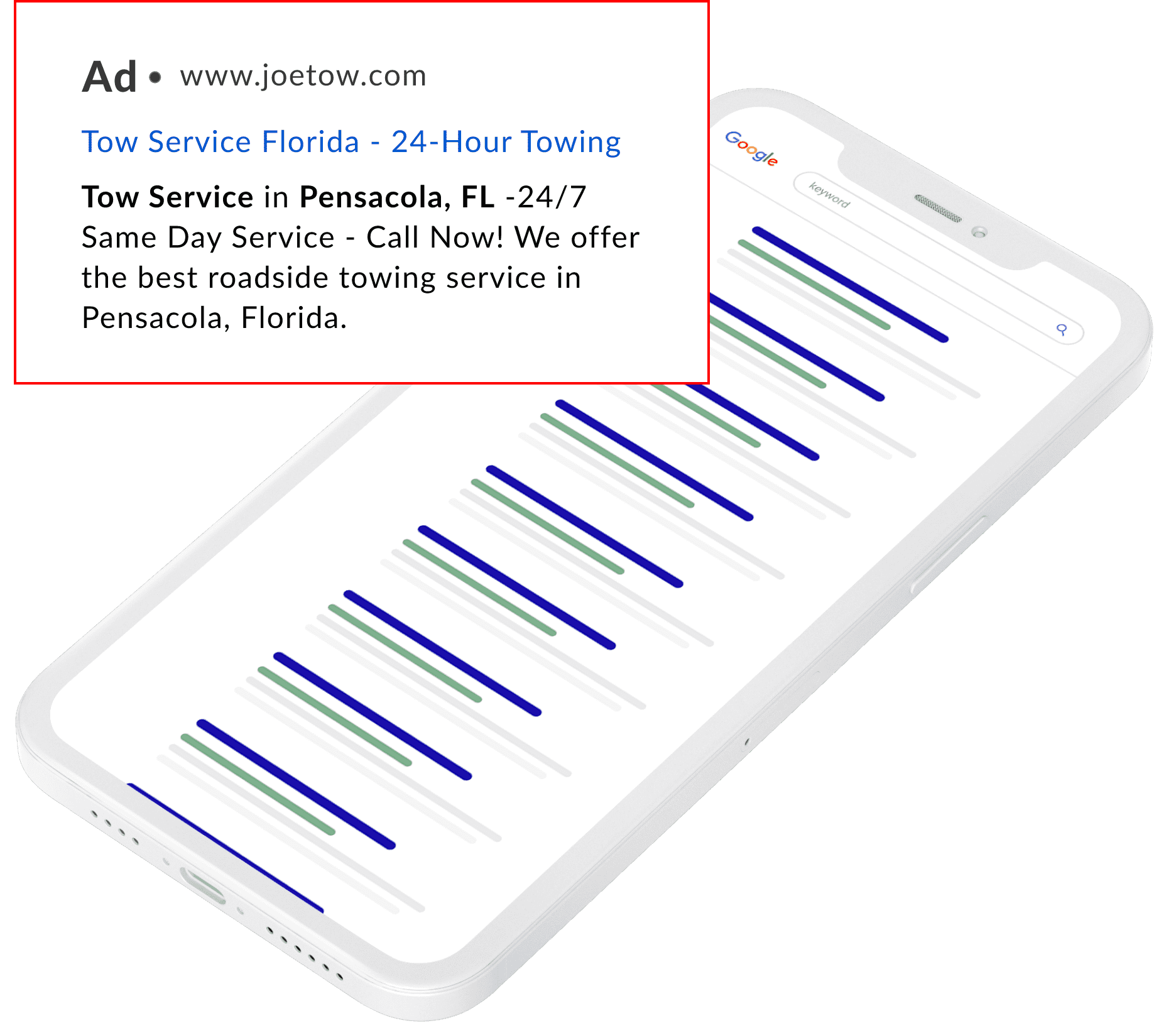 Illustration of a mobile phone showing a Google Adwords advertisement.