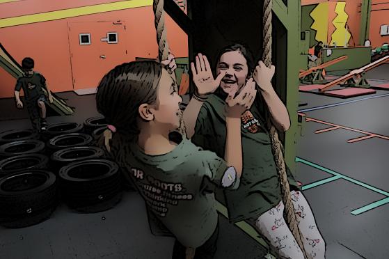 girls give high five