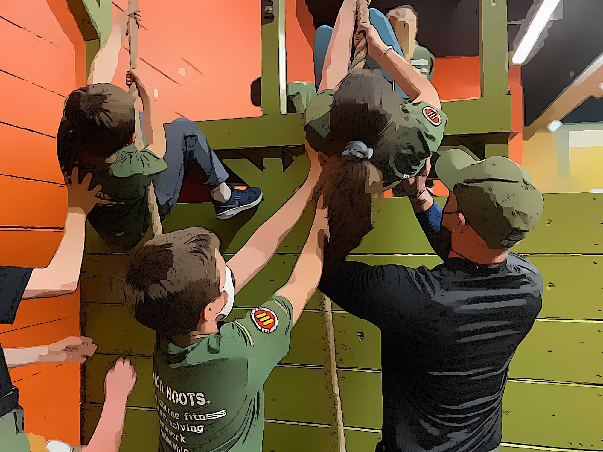 children with the help of the hot ground gym's trainer and ropes overcome the barrier