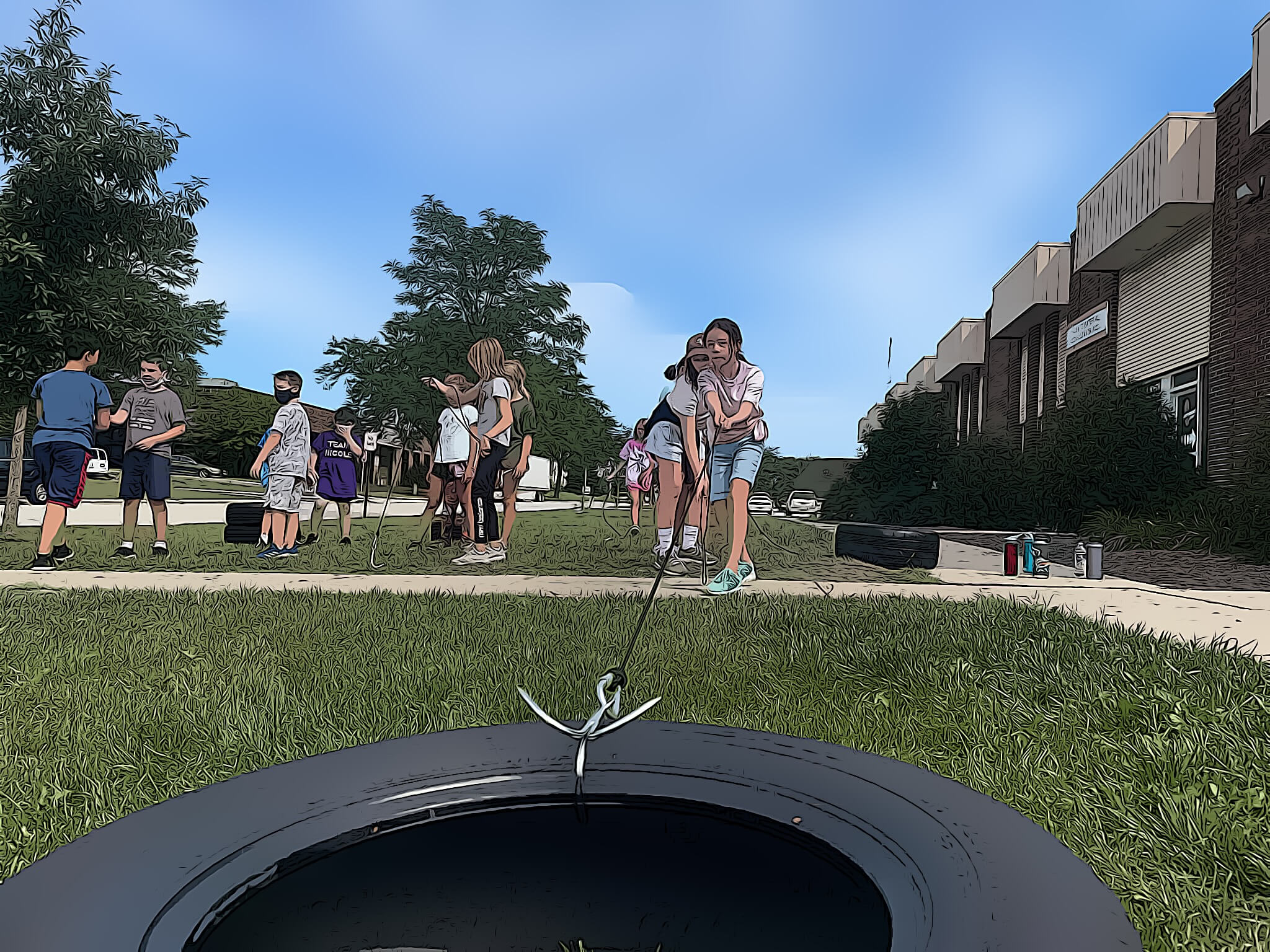 exercise to pull the tire on the grass